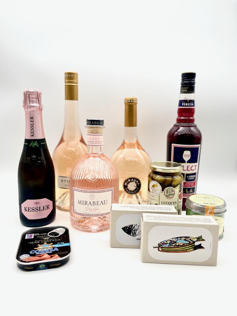 Weinprobe und Gin-tasting. Rosé Weine von Miraval, Gin von Mirabeau, Sekt von Kessler und Fisch von Jose Gourmet sowie Codesa